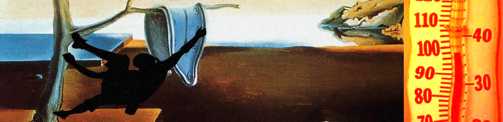escalador en un cuadro surrealista de dalí con un termometro perdiendo magnesio en el sudor