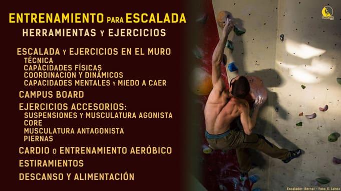 infografía sobre entrenamiento de escalada deportiva y boulder con un escalador entrenando bloque