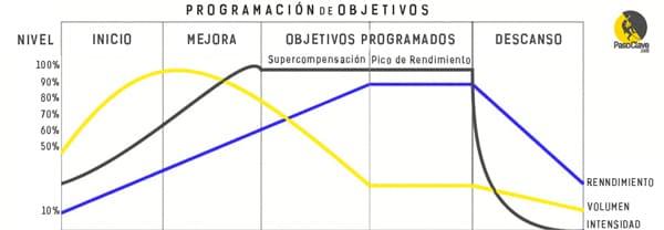 gráfico de planificacion de entrenamiento de escalada