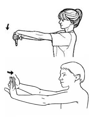 dibujo en blanco y negro de ejercicios de estiramiento de la muñeca para tendinitis o epicondilitis para escalada y calistenia