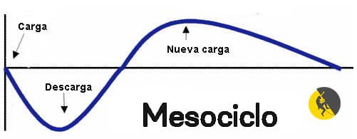 gráfico del mesociclo: la carga debe ir seguida de una descarga para supercompensar antes de pasar a a la siguiente carga