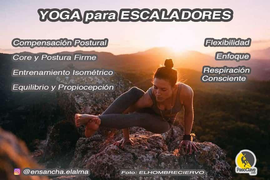 infografía sobre los beneficios del yoga para la escalada