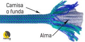 funda y alma de la cuerda dinámica para escalar