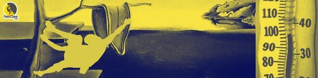 escalador en cuadro de Dalí con termómetro