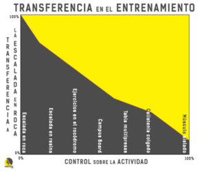 gráfico de la transferencia de los ejercicios del entrenamiento a la escalada deportiva libre en roca