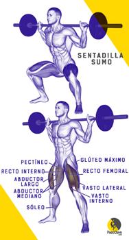 escalador entrenando sentadilla sumo para los glúteos