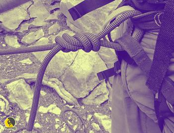 Nudo ocho en el arnés para escalada