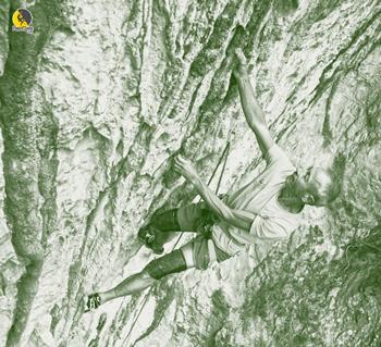 Jean Claude Villacampa escalando chorreras