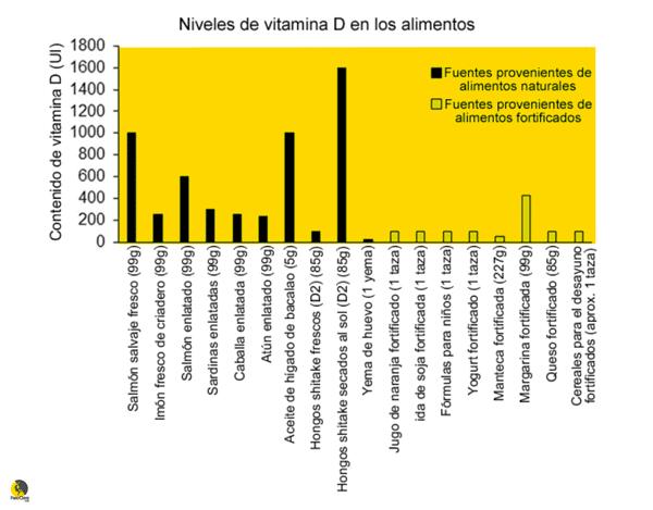 composición de la vitamina D en los alimentos