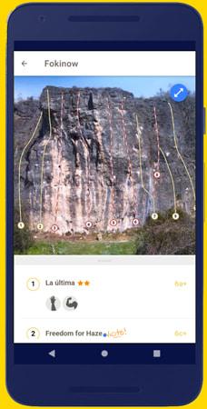 aplicación de topos de escalada para el celular