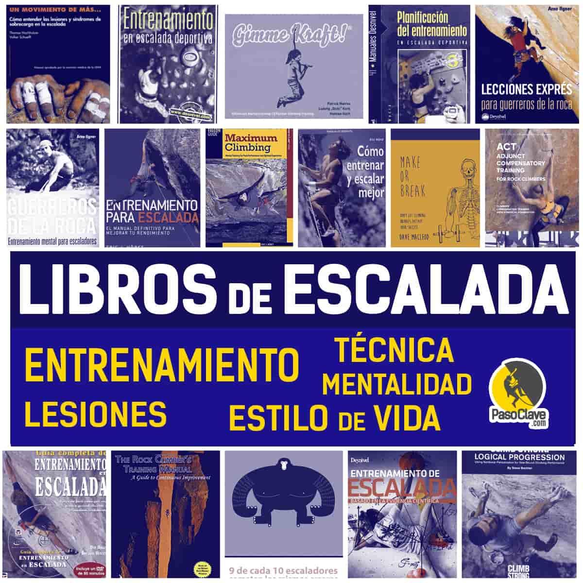 libros de escalada: entrenamiento, técnica y lesiones