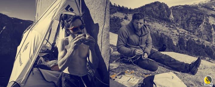 Escaladores comiendo en la montaña