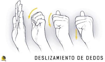 ejercicio deslizamiento de dedos para prevenir lesiones de escalada