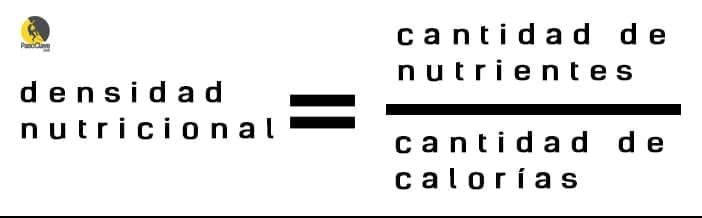 Fórmula para calcular la densidad nutricional de los alimetnos