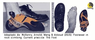 Lesiones por un calzado de escalada muy ajustado